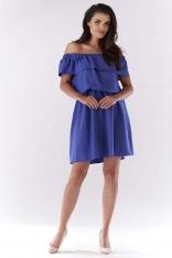Niebieska Sukienka ze Zmysłowym Dekoltem Carmen