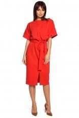 Czerwona Sukienka Midi z Rozcięciem na Przodzie