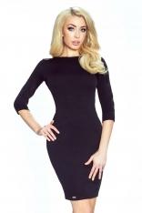 Czarna Sukienka Ołówkowa z Dekoltem na Plecach
