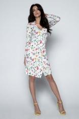Biała Sukienka Asymetryczna w Kwiaty z Kopertowym Dekoltem