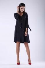 Czarna Żakietowa Sukienka z Wiązaniem przy Rękawach