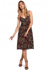 Rozkloszowana Sukienka w Kwiatki na Cienkich Ramiączkach - Model 6