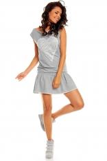 Mini Sukienka z Falbanką i Ażurowym Sercem - Szary