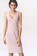Różowa Klasyczna Dopasowana Sukienka z Ozdobnym Suwakiem