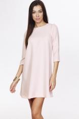 Różowa Casualowa Trapezowa Sukienka z Ozdobnym Suwakiem na Plecach