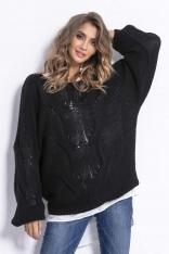 Czarny Luźny Oversizowy Sweter w Przeplatane Warkocze