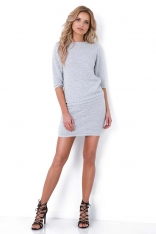 Jasnoszary Dzianinowy Komplet Sweter i Mini Spódnica