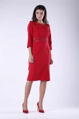 Czerwona Elegancka Ołówkowa Sukienka z Dodatkami w Panterkę
