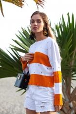 Pomarańczowy Lekki Sweterek w Paski z Ozdobnymi Oczkami