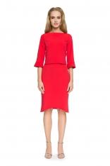 Czerwona Elegancka Bluzka z Falbankami przy Rękawach