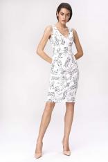 Klasyczna Wzorzysta Sukienka z Suwakiem Wzór - Twarze