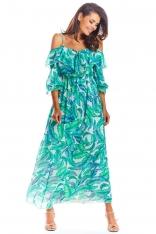 Długa Sukienka Hiszpanka w Kwiaty