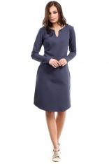 Sukienka Trapezowa z Długim Rękawem - Niebieska
