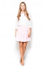 Elegancka Różowa Spódnica na Karczku z Plisami