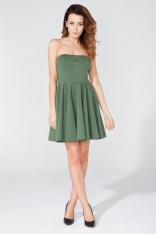 Zielona Dzianinowa Sukienka z Odkrytymi Ramionami z Suwakiem