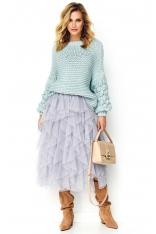 Casualowy Sweter z Bufiastym Rękawem - Błękitny