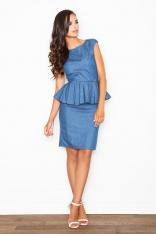 Niebieska Efektowna Sukienka z Baskinką