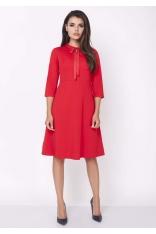 Czerwona Wizytowa Sukienka o Linii A z Wiązaną Kokardką przy Dekolcie
