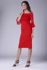 Czerwona Wizytowa Dopasowana Sukienka z Koronką