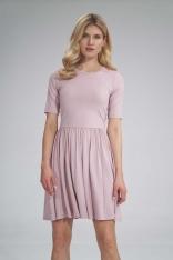 Krótka Wiskozowa Sukienka na Lato - Różowa