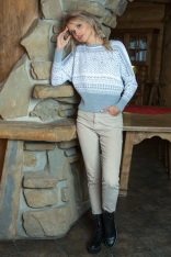 Szaro Biały Nietoperzowy Sweter z Kolorowym Wzorem
