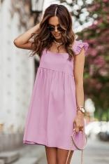 Krótka Sukienka na Szerokich Ramiączkach z Falbankmi - Różowa
