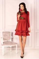 Czerwona Urocza Krótka Sukienka z Falbankami