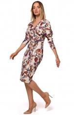 Dzianinowa Wzorzysta Sukienka o Kopertowym Dekolcie - Model 2