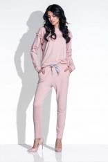 Różowy Kobiecy Zestaw Bluzka i Spodnie
