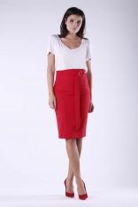 Czerwona Ołówkowa Midi Spódnica z Ozdobnym Paskiem