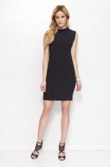 Czarna Klasyczna Sukienka z Wycięciem na Plecach