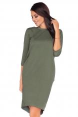 Zielona Dzianinowa Stylowa Sukienka z Wiązaniem na Karku