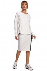 Asymetryczna Bluza z Lampasami - Ecru