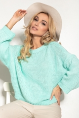 Sweter z Okrągłym Dekoltem w Casualowym Stylu - Zielona