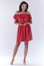 Różowa Sukienka ze Zmysłowym Dekoltem Carmen