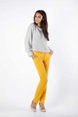 Złoty Luźny Sweter z Błyszcząca Nitką