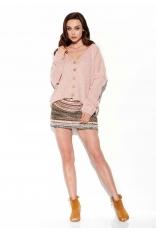 Krótki Sweter Zapinany na Guziki - Różowy