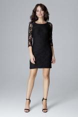 Czarna Dopasowana Koronkowa Sukienka z Wycięciem na Plecach
