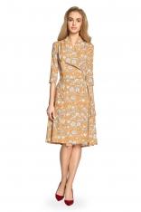 Rozkloszowana Sukienka Midi w Kwiatowy Nadruk - Miodowa