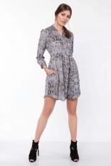 Krótka Koszulowa Sukienka w Wężowy Deseń