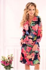 Granatowa Kopertowa Sukienka w Kwiaty