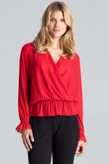 Czerwona Połyskująca Bluzka z Kopertowym Dekoltem
