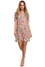 Luźna Sukienka w Kwiatki z Dekoltem na Plecach - Model 5