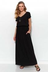 Czarna Letnia Sukienka Maxi z Kieszeniami