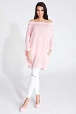 Różowy Sweter Luźny z Kieszeniami