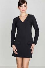 Prosta Czarna Sukienka z Ozdobnymi Patkami z Długim Rękawem