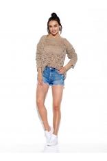 Lekki Sweter Oversize z Ażurem - Latte