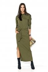 Khaki Komfortowa Maxi Sukienka z Paskiem