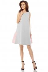 Jasnoszaro Różowa Trapezowa Sukienka z Satynową Falbanką