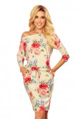 Sportowa Sukienka ze Ściągaczem - Beżowa w Kwiaty